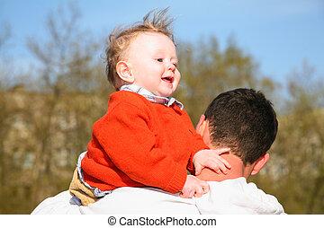 bébé, épaule, père