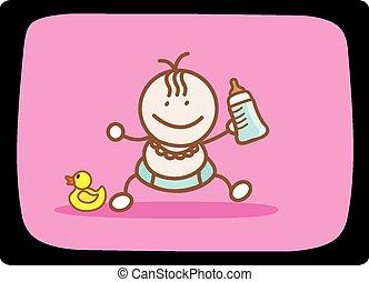 bébé, étape, lait, premier