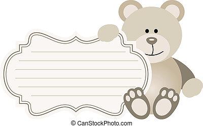 bébé, étiquette, ours, teddy