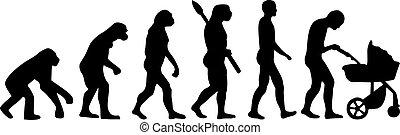 bébé, évolution, buggy, père