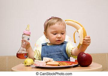 bébé, 11, girl, manger, #