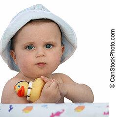 bébé, a, canard caoutchouc