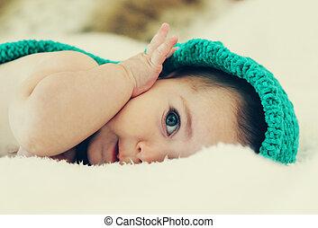 bébé, aborable, six, mois