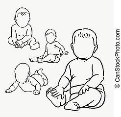 bébé, action, dessin, main