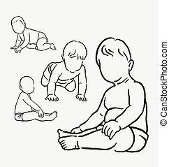 bébé, activité, dessin, main