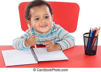 bébé, adorable, étudiant