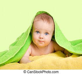 bébé, adorable, serviette, coloré, heureux