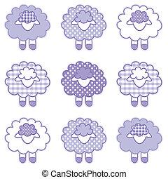 bébé, agneaux, lavande, patchwork