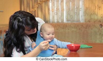 bébé, alimentation, elle, mère
