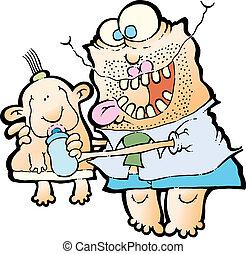 bébé, alimentation, père