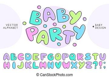 bébé, alphabet, vecteur