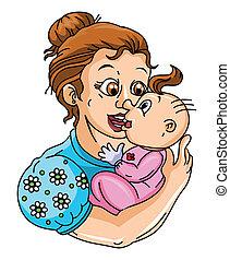 bébé, amour, maman