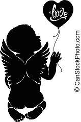 bébé, amour, silhouette, balloon, ange
