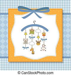 bébé, annonce, carte, accueil