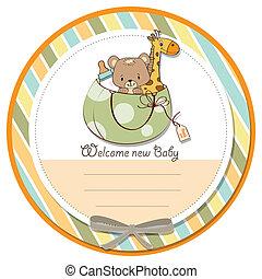 bébé, annonce, carte, nouveau, sac