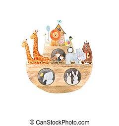 bébé, aquarelle, noé, arche