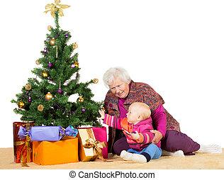 bébé, arbre, noël, grand-maman