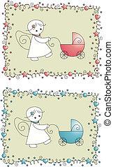 bébé, arrivée, ensemble, carte voeux