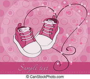 bébé, arrivée, girl, chaussures, carte