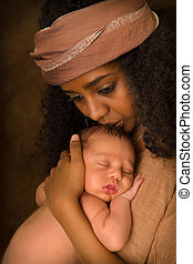 bébé, baisers, éthiopien, elle, mère