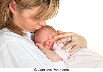 bébé, baisers, mère