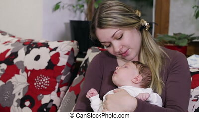 bébé, baisers, maman