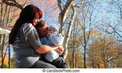 bébé, baisers, père, aimer