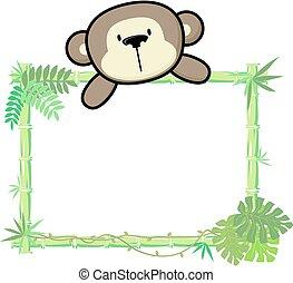 bébé, bambou, singe, cadre
