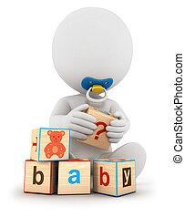 bébé, blanc, 3d, blocs, gens