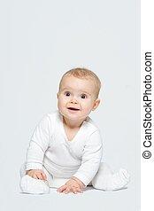 bébé, blanc, adorable, isolé