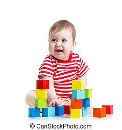 bébé, bloc structurel, jouets
