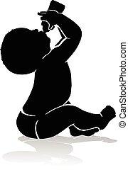 bébé, boire, silhouette, bouteille