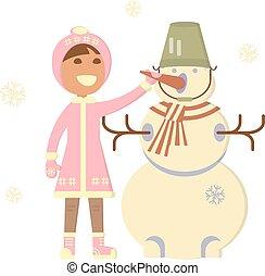 bébé, bonhomme de neige, girl