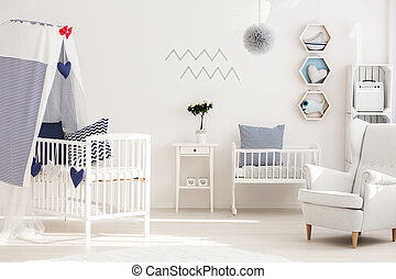 bébé, bord mer, atmosphère, bon, salle