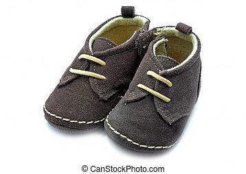 bébé, brun, chaussure