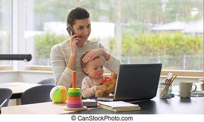 bébé, bureau, fonctionnement, ordinateur portable, maison, ...