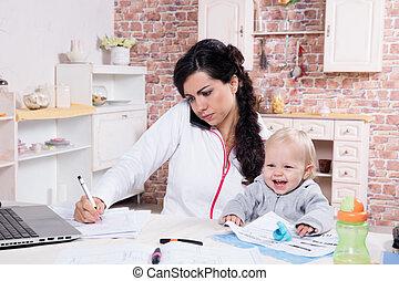 bébé, bureau maison, mère