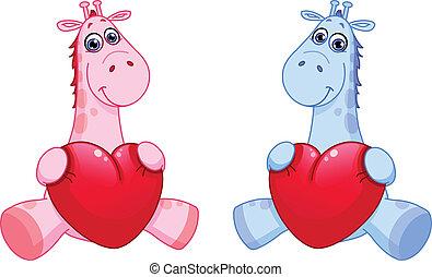 bébé, cœurs, tenue, girafes
