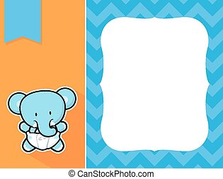bébé, cadre, éléphant