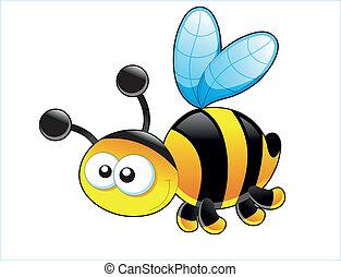 bébé, card., mignon, bee., vecteur