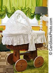 bébé, carriage., décoré, salle, préscolaire