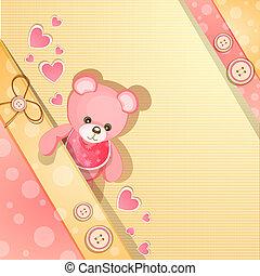 bébé, carte, douche, rose