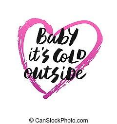 bébé, c'est, froid, dehors