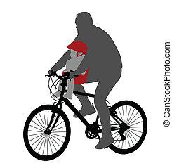 bébé, chai, vélo, cycliste