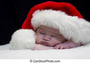 bébé, chapeau, santa