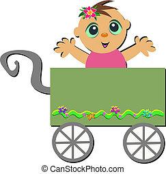 bébé, charrette, heureux