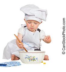bébé, chef cuistot, peu, adorable