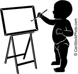 bébé, chevalet, silhouette, brosse, dessin