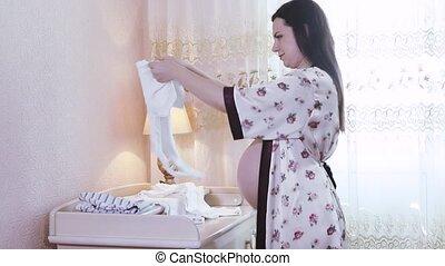 bébé, choses, femme, prépare, pregnant