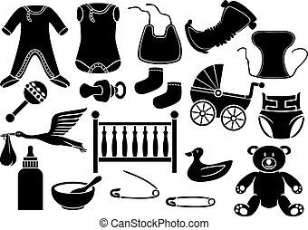 bébé, collection, icônes